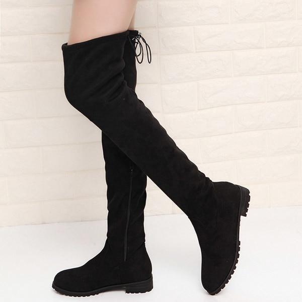 021b8634cc57 New Women's Over The Knee Suede Boots Thigh High Winter Footware ...