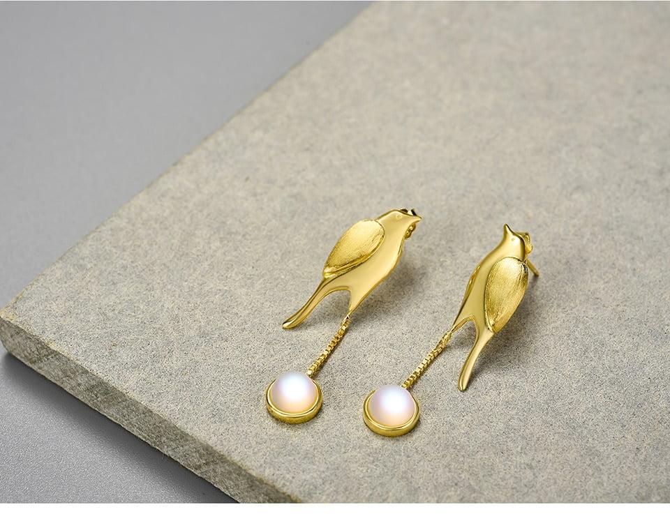 18K Gold, 925 Sterling Silver Moonstone and Bird Tassel Dangle Earrings