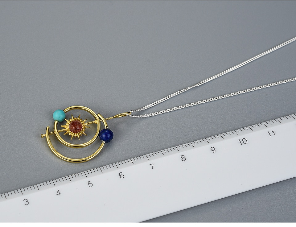18K Gold, 925 Sterling Silver Handmade Creative Solar System Pendant Necklace