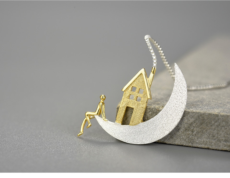 925 Sterling Silver Home on the Moon Long Drop Earrings
