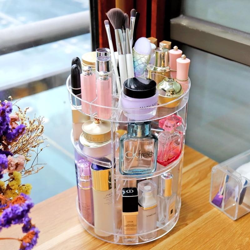 360 Degree Rotational Multi-Functional Detachable Acrylic Make Up Organizer