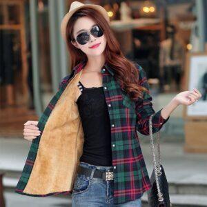 Warm Winter Plaid Jacket Shirt For Women